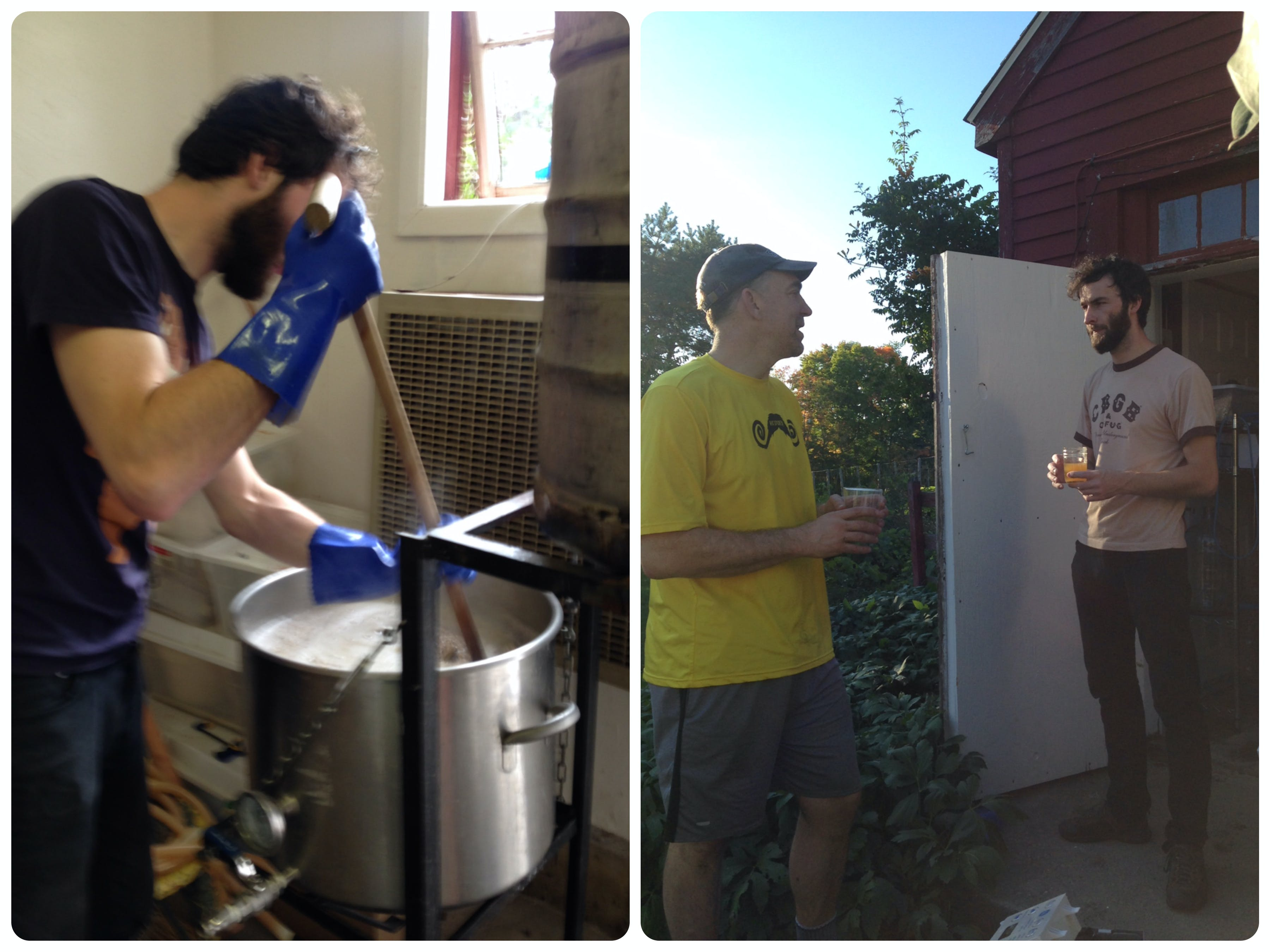 That's Derek (on the left) stirring a mash and enjoying the fruits of our labor with David (mustache jersey).